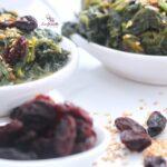 Comida a domicilio - Espinacas con pasas y sésamo
