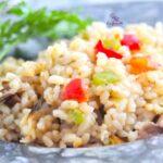 Comida a domicilio - Arroz con pimientos y setas