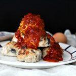 Comida a domicilio - Albóndigas de pollo con berenjena y ricotta