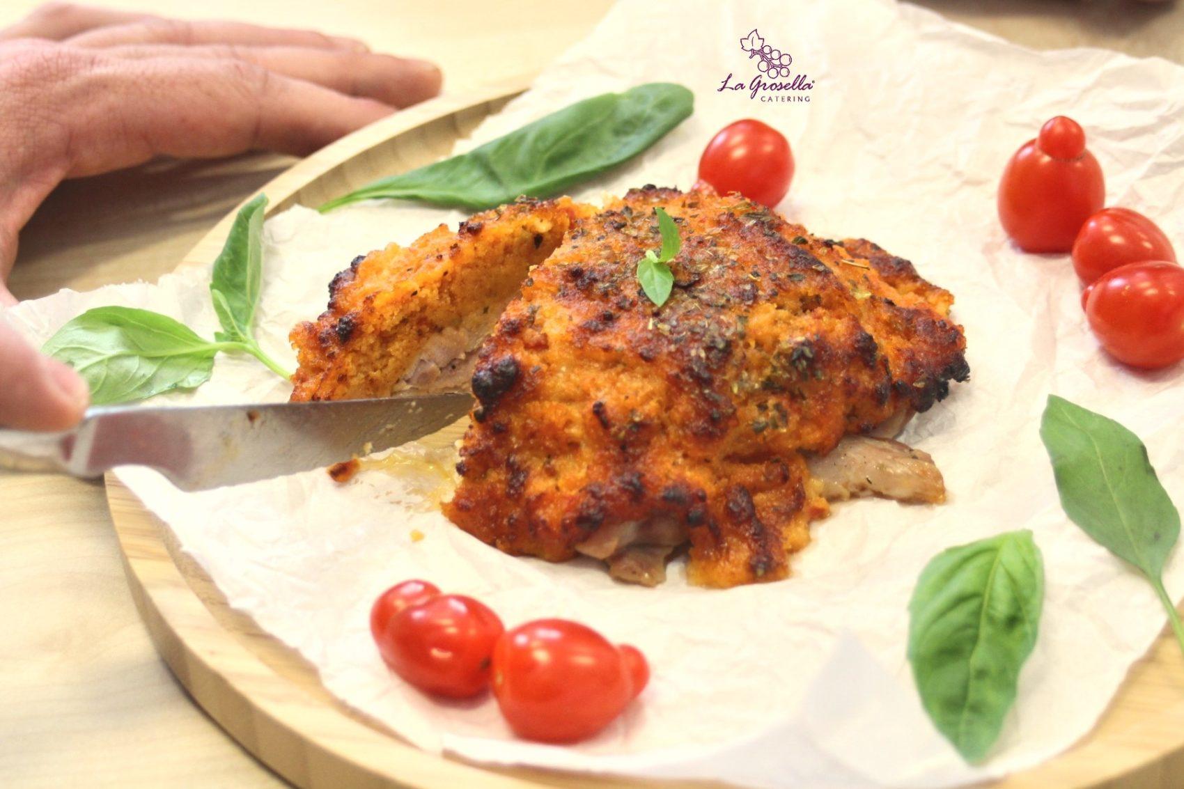 Contramuslo de pollo a la parmesana