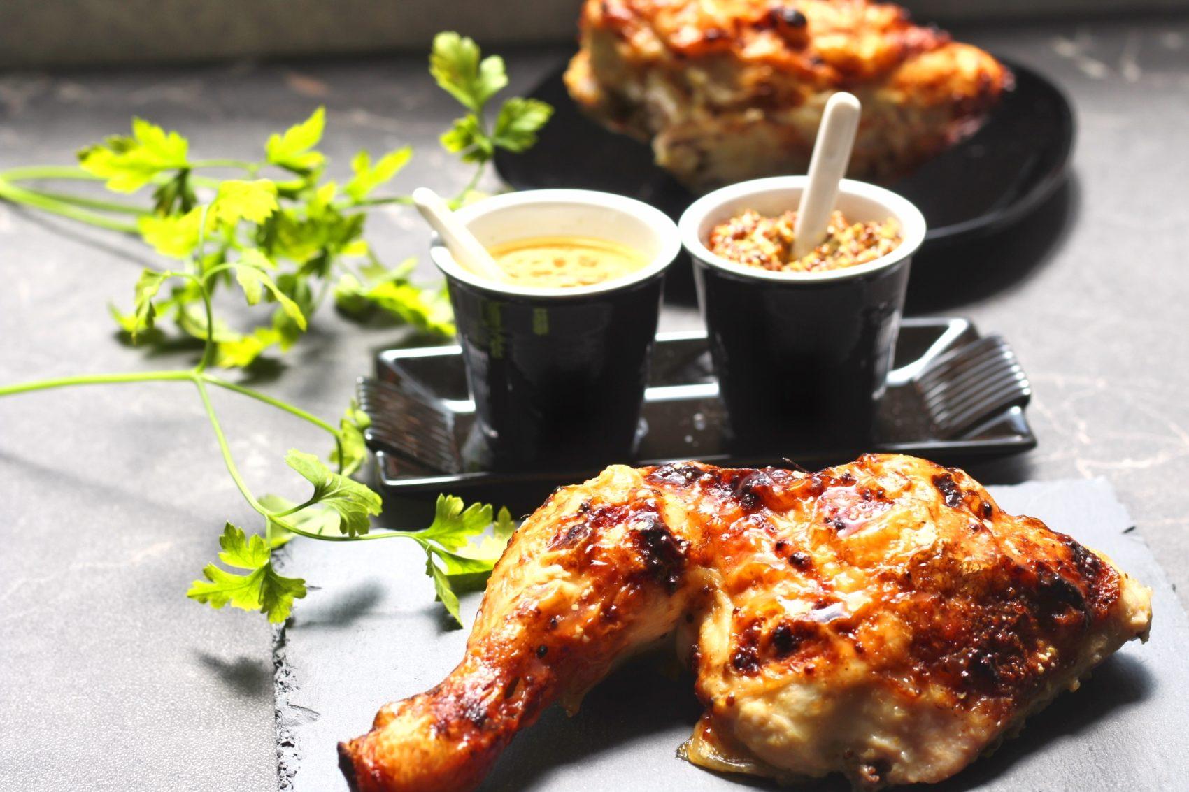 Jamoncitos de pollo asados con miel y mostaza a la antigua