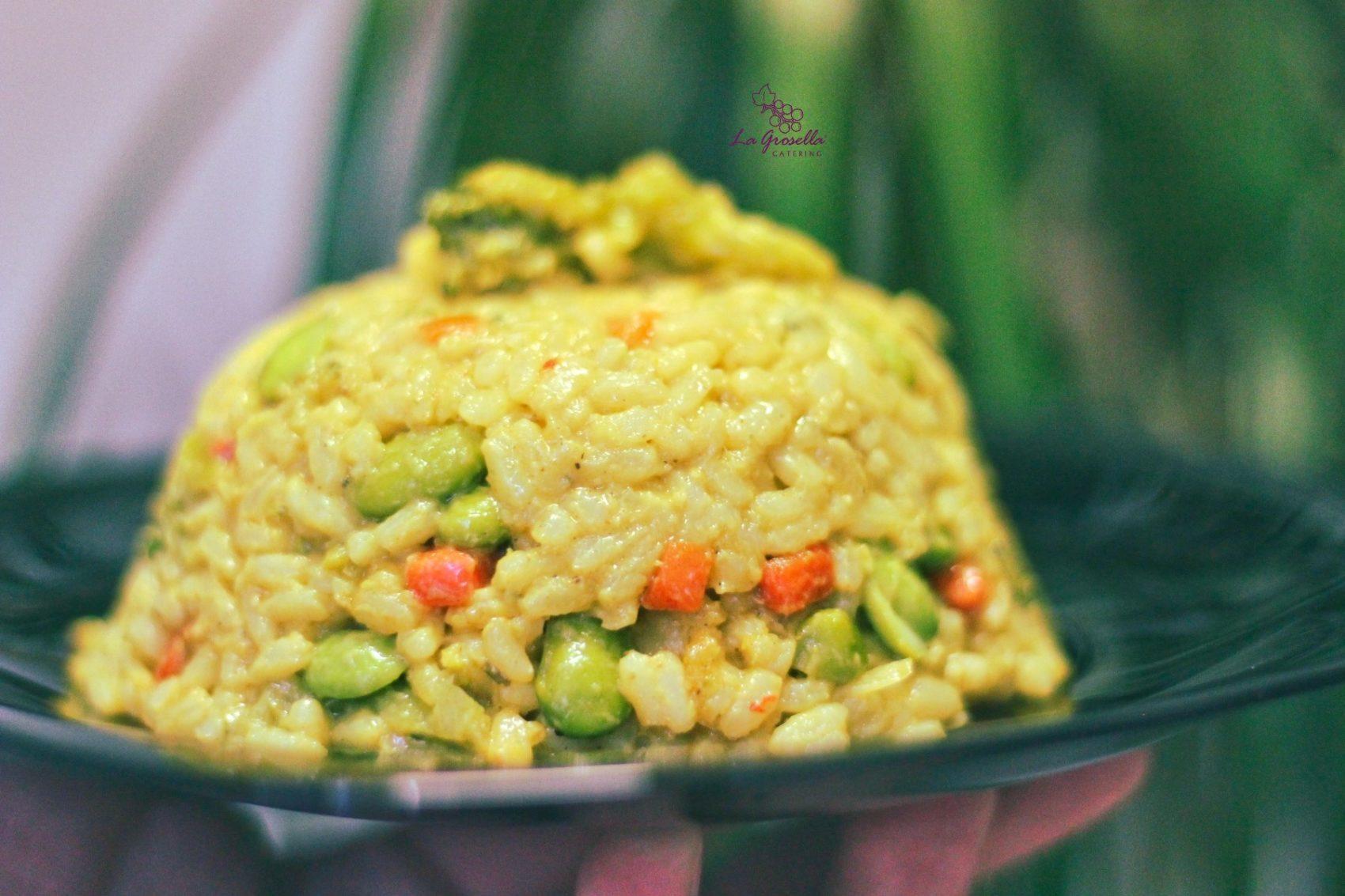 Arroz  con verduras indias y leche de coco