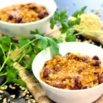 Comida a domicilio - Chili 👉 vegano 🥗 con soja texturizada