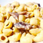 Comida a domicilio - Pasta tiburón con champiñones